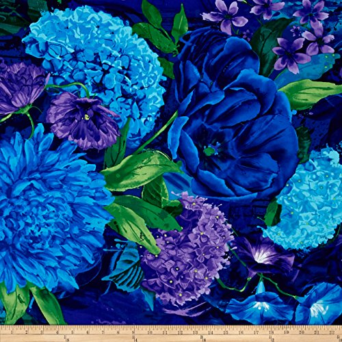 By Timeless Treasures - Timeless Treasures Large Floral Midnight Fabric by The Yard