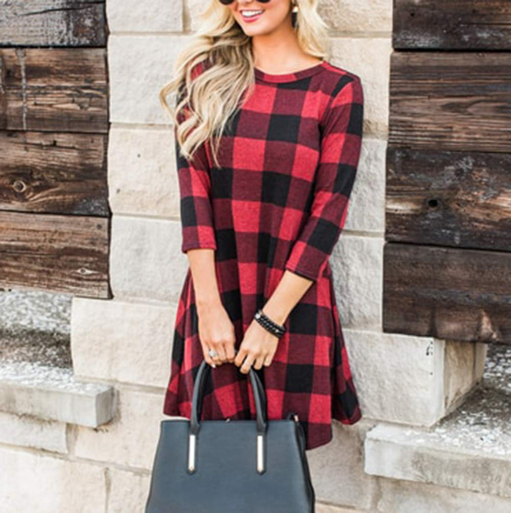 d2bdd00119e27 Amazon.com  Birdfly Fall Winter Plaid Long Dress Baggy Loose Casual Red-Black  Plaid Mini Dresses for Women (S