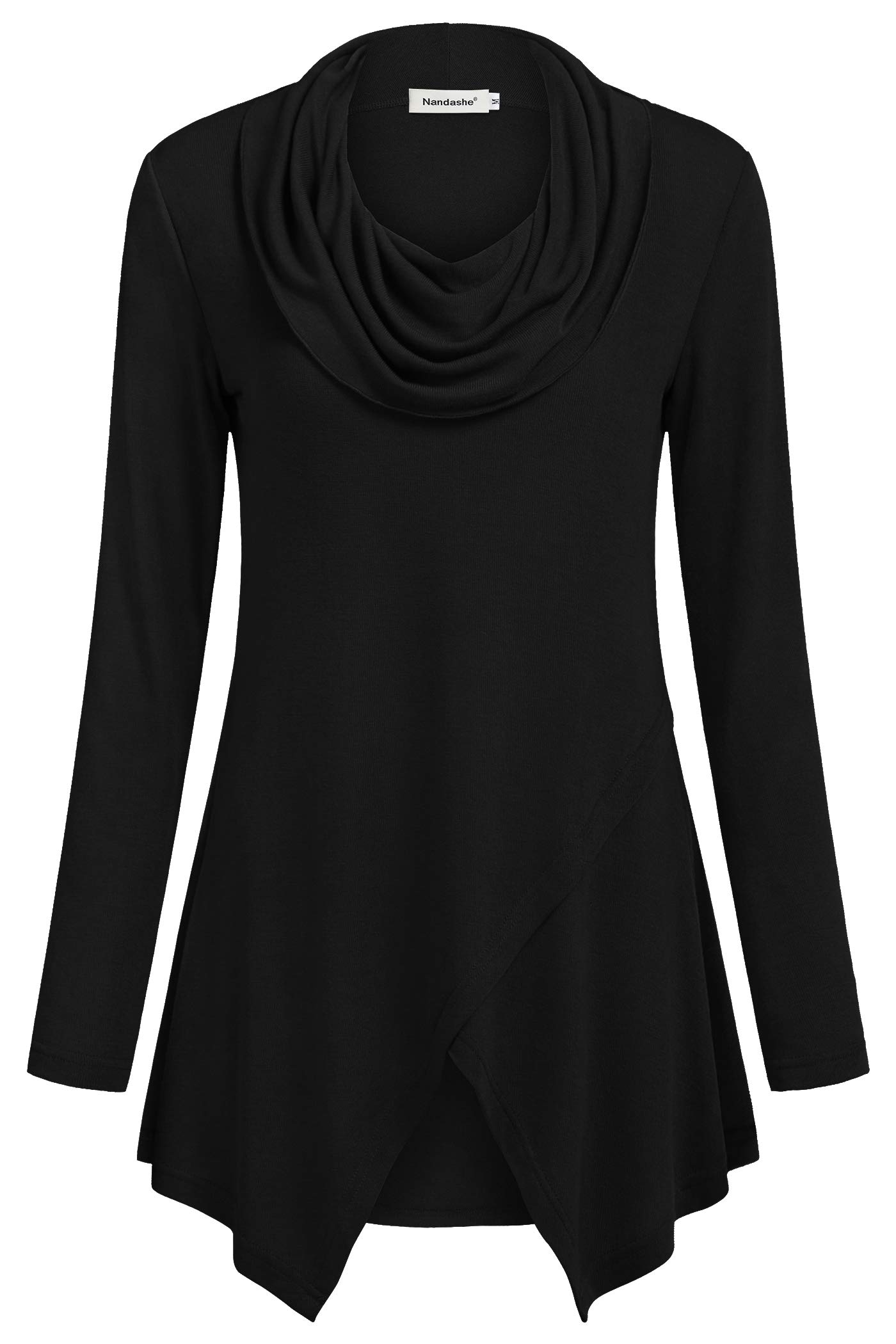 Nandashe Women Tunic Tops, Big Girls Chic Style Cowl Neck Solid Color Long Sleeve Asymmetrical Hem Flare and Fit Lightweight Flattering Sweaters for Leggings Plus Size Clothing Black 2XL