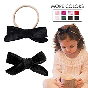 9e90f7c67e33 Image Unavailable. Image not available for. Color  Baby Girl Headbands  Nylon Knotted Hairbands Black Hair Accessories for Newborn ...