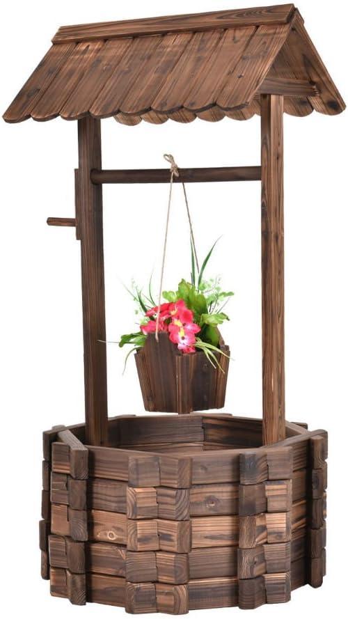 Cubo de madera para exteriores con diseño de flores, ideal para ...