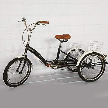 """LianDu 20"""" Crucero, Negro Adulto Triciclo 3 Ruedas de Una Sola Velocidad de Bicicleta"""