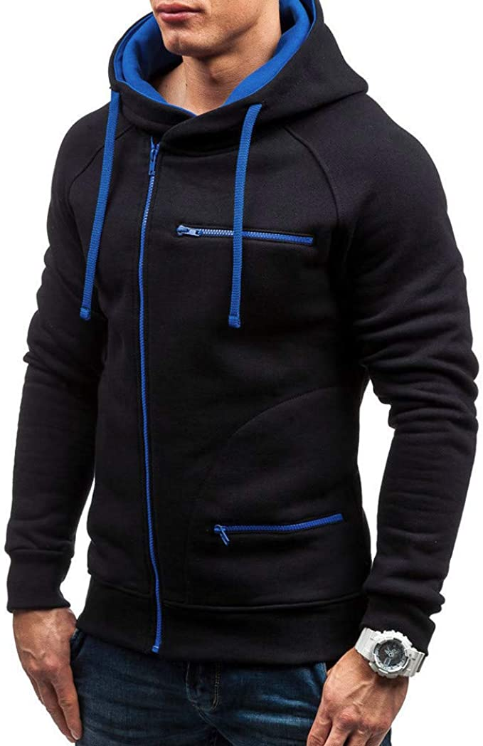 Mens Hoodies Pullover F/_Gotal Mens Hiphop Casual Long Sleeve Solid Zipper Sports Outwear Hooded Sweatshirts