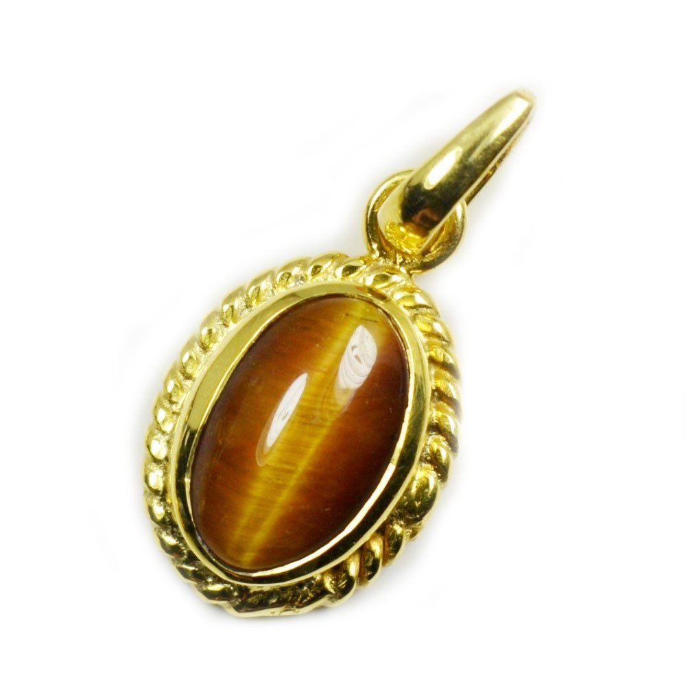 Jewelryonclick Genuine Oval Tiger Eye 7 carat Copper Gold Plated Pendant Charms