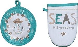 Kay Dee Designs Nautical Coastal Holiday Kitchen Linen Sets Seas and Greetings Snowman & Sea Shells (Pot Holder/Oven Mitt Set)