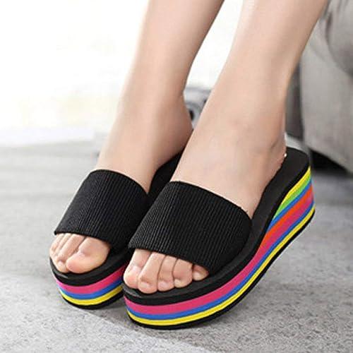 2989d6d7b3918 Exiao2MX Moda Mujer Sandalias Verano Playa Zapatillas Slip-on Zapatillas  Plataforma