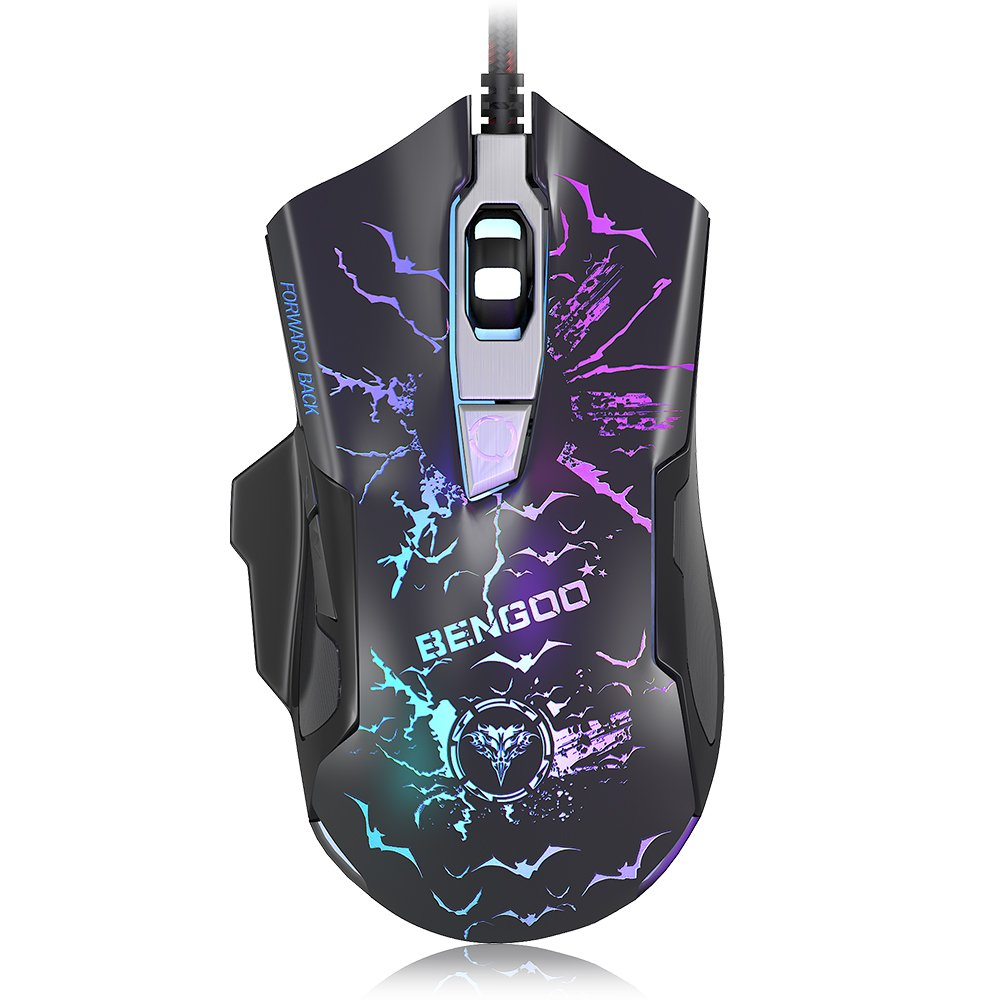 BENGOO Gaming Mouse, 3200 DPI Ergonomic Gaming Mouse with 7 Color Changing Backlight, USB Computer Mouse for PC, Laptop, 3 adjustable DPI Levels with 6 buttons for Windows 7/8/10/XP Vista Linux, Black