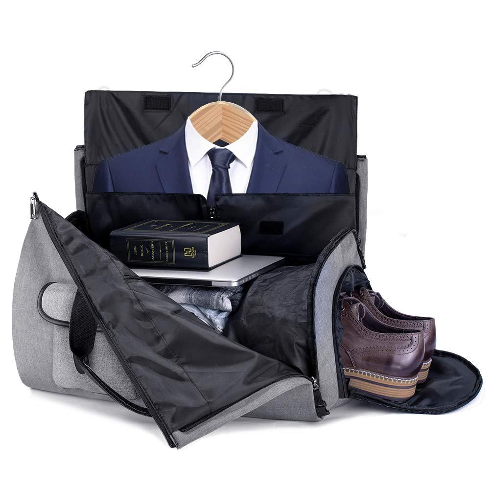 SUVOM Suit Carry On Garment Bag Canvas Duffel Bag Travel Weekend Bag Flight Bag with Shoulder Strap for Travel /& Business Trips 2019 Upgrade Wrinkle Free for Suit Shirts Dresses Coats Black