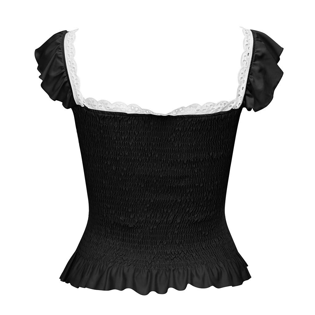 DFHYAR Womens Cute Bowknot Ruffle Tank Tops with Shelf Bra Fitted Solid S//M//L//XL