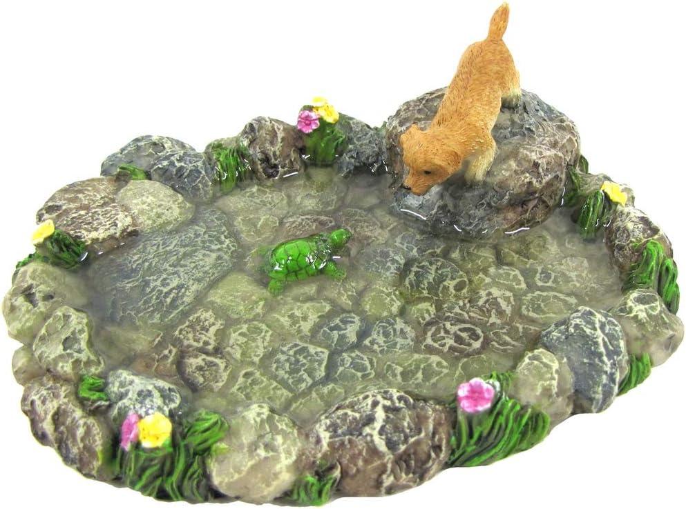 Treasure Gurus Miniature Stone Pond Turtle Dog Fairy Garden Ornament Mini Outdoor Dollhouse Decor Accessory