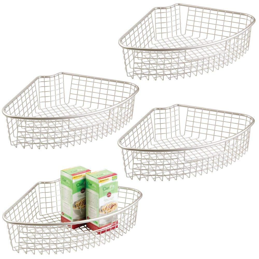 Large Pie-Shaped 1//4 Wedge mDesign Farmhouse Metal Kitchen Cabinet Lazy Susan Storage Organizer Basket with Front Handle Satin 4 Pack 4.4 Deep Container