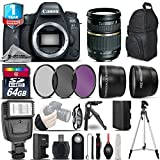 Canon EOS 6D Mark II DSLR Camera + Tamron AF 28-75mm f/2.8 Lens + Flash + 0.43X Wide Angle Lens + 2.2x Telephoto Lens + UV-CPL-FLD Filters + 64GB Class 10 Memory Card - International Version
