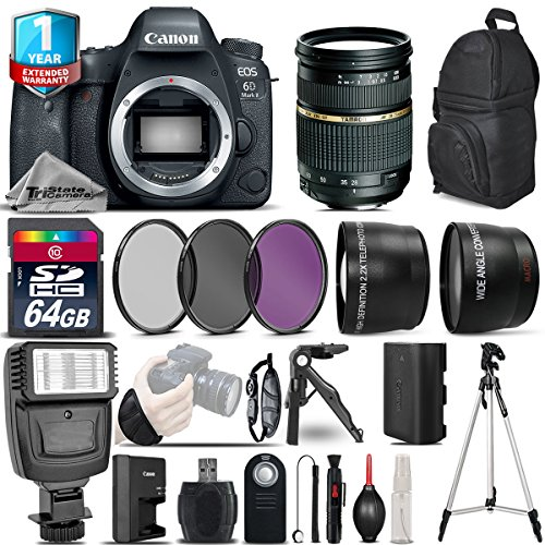 Canon EOS 6D Mark II DSLR Camera + Tamron AF 28-75mm f/2.8 Lens + Flash + 0.43X Wide Angle Lens + 2.2x Telephoto Lens + UV-CPL-FLD Filters + 64GB Class 10 Memory Card - International Version by TriStateCamera