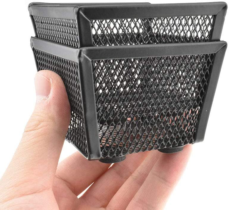 """HAHIYO Stackable Paper Clip Mesh Holder Cup 2.2"""" Height 2 Pack Black Sturdy Paperclip Holder Container for Desk Drawer Organizer Collection for Home Office School Soft Foam Feet No Sharp Edges"""