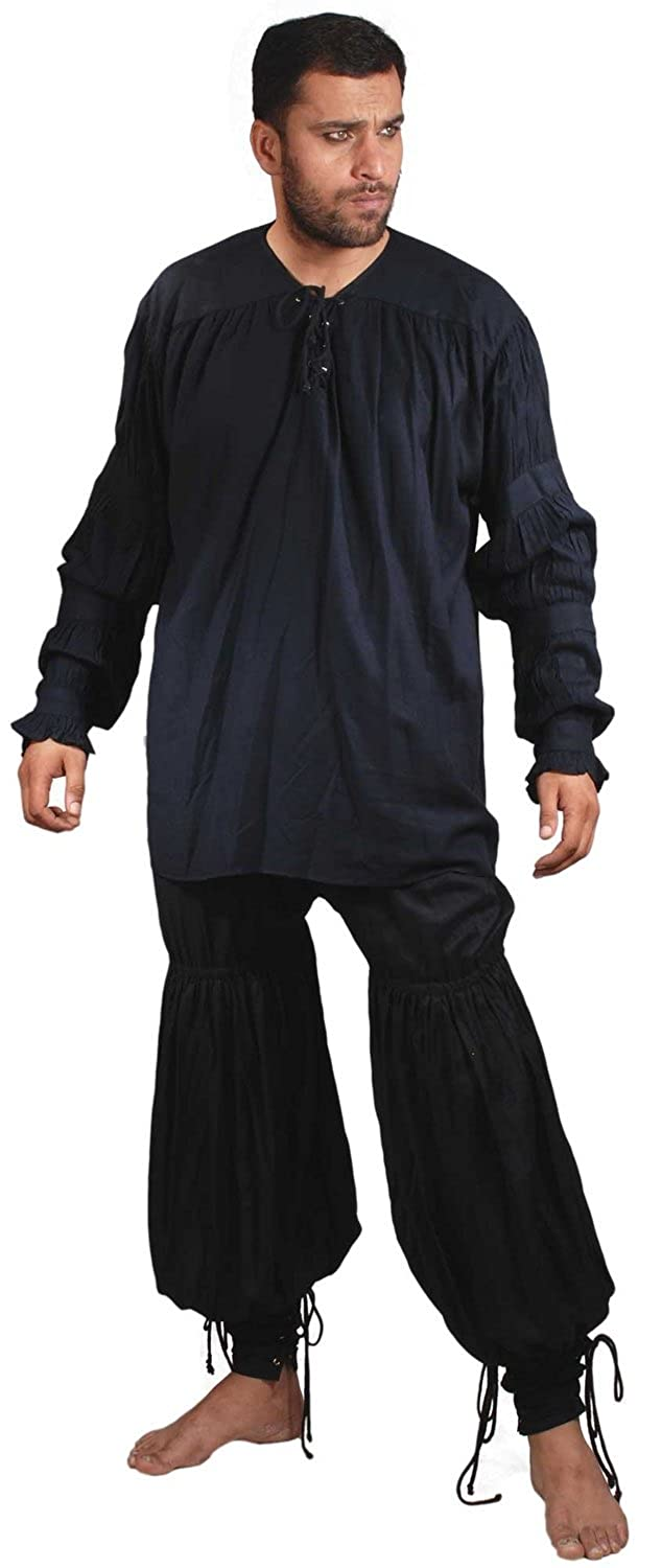 ThePirateDressing Pirate Medieval Renaissance Swordsman Pants Costume C1054 [Black]