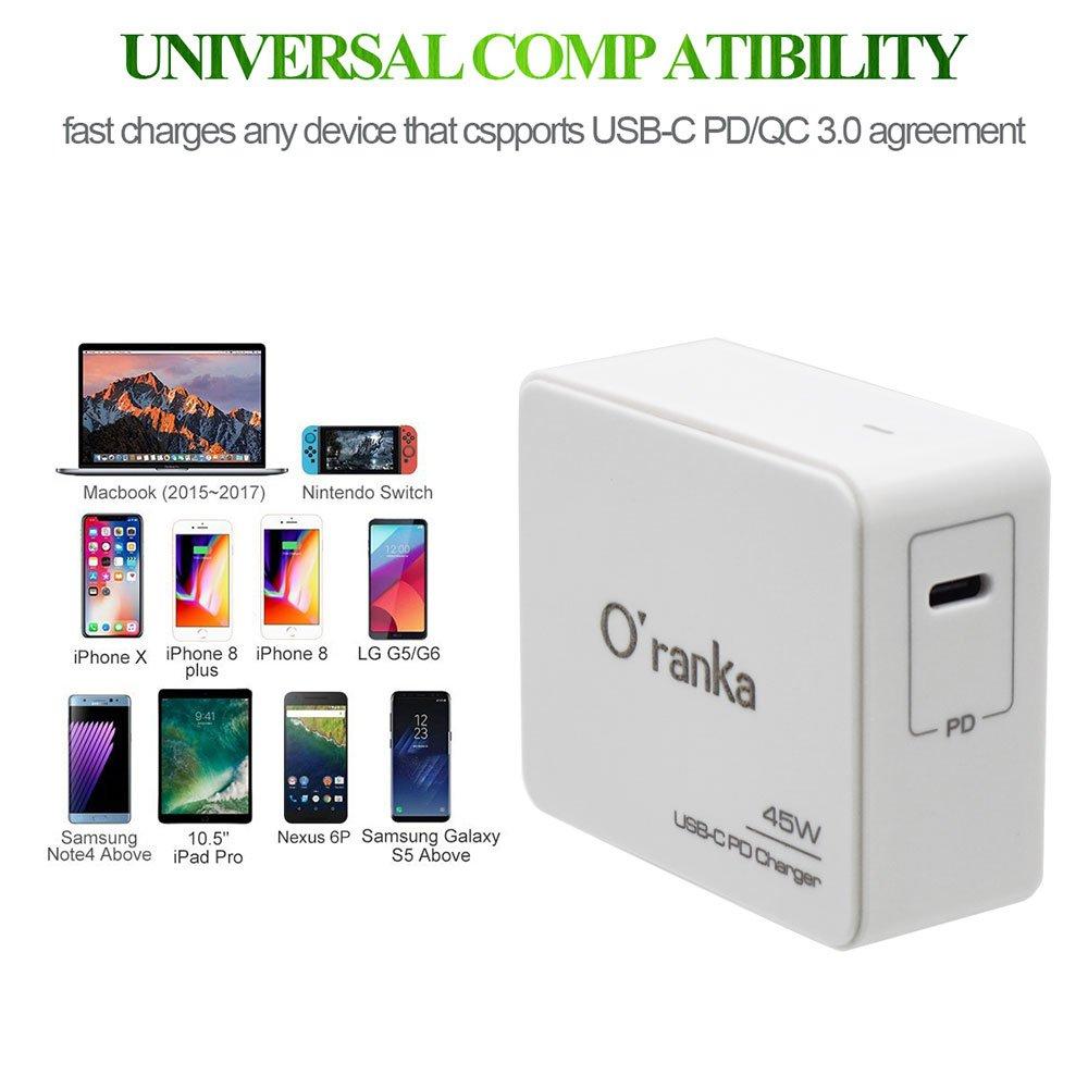 Amazon.com: oranka 45 W tipo C PD Cargador Adaptador de ...