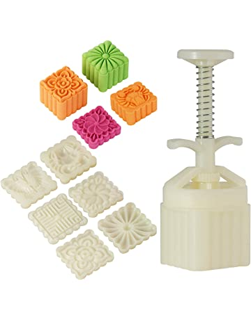Louty Mid-Autumn Festival DIY Mooncake Mold,Cookie Press with 65g 6pcs stamps(