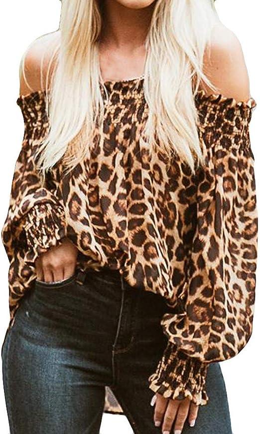 Plus Size Women Boho Long Sleeve Off Shoulder Loose Top Blouse Printed T Shirt