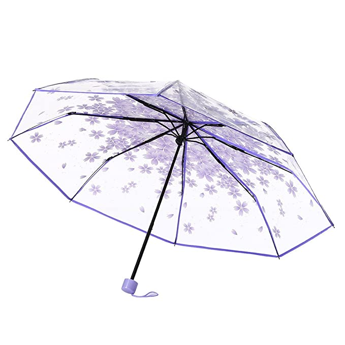 Amazon.com : Clear Umbrella, Yalasga Transparent Cherry Blossom Mushroom Apollo Sakura 3 Fold Compact Umbrella (Purple) : Sports & Outdoors