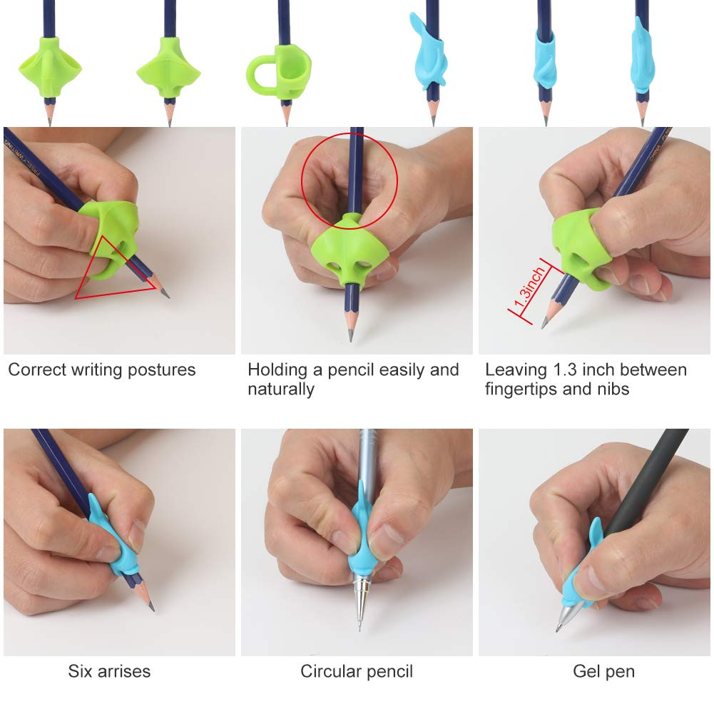 Adults The Old with Hands Tremor 9PCS Premium Upgrade Pencil Grips for Kids Ritchoi Antislip Ergonomic Pencil Grip Handwriting Finger Posture Correction for Righties or Lefties