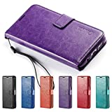 Galaxy S7 Edge Case, HLCT PU Leather Case, With Soft TPU Protective Bumper, Built-In Kickstand, Cash And Card Pockets, For Samsung Galaxy S7 Edge (Purple)