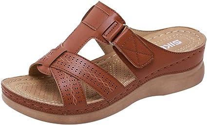 Womens Leather Sandals Low Wedge Heels Summer Comfort Mules Metallic Toe Posts