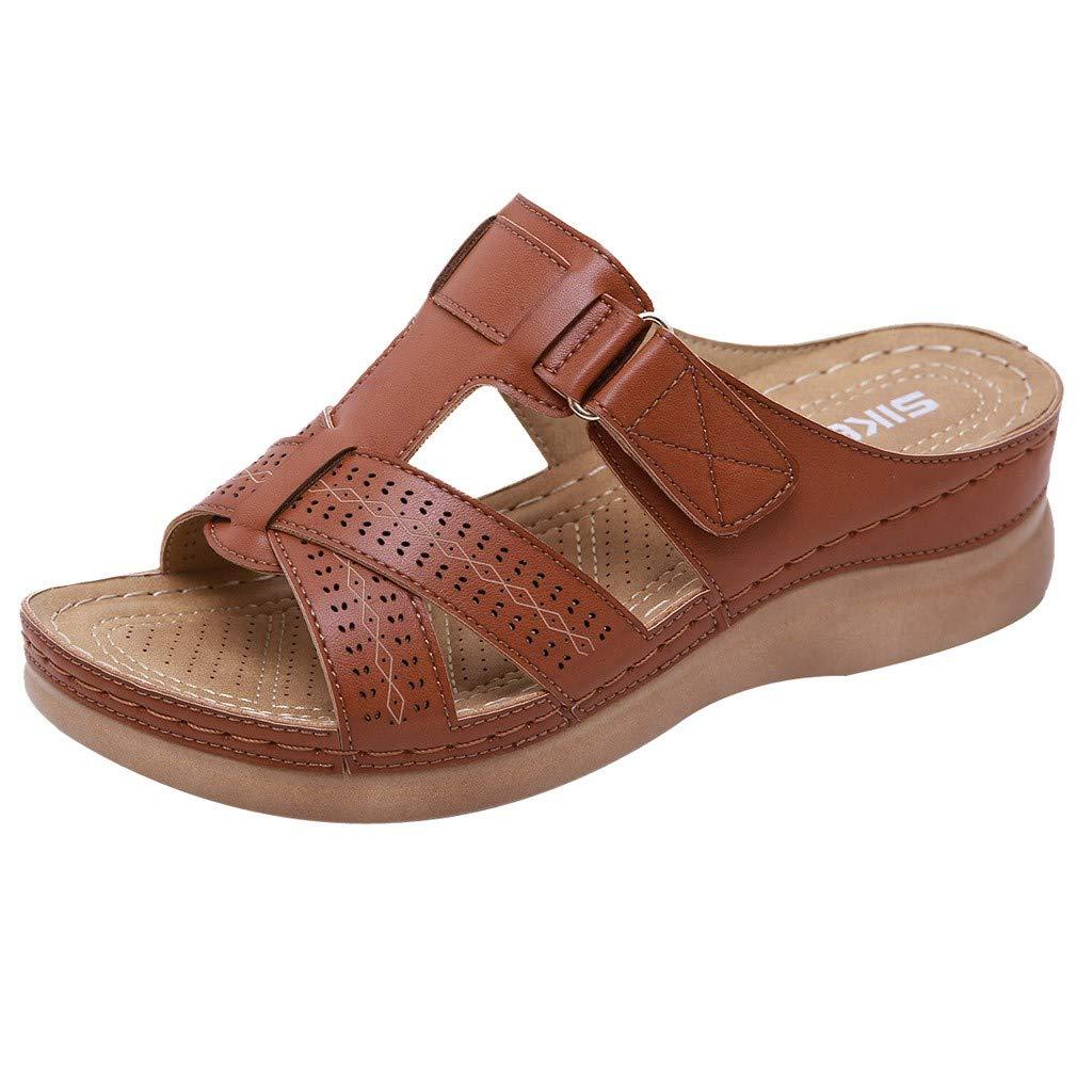 Women Summer Shoes, LIM&Shop  Comfy Flat Plus Size Slipper Soft Sole Wedges Sandal Non-Slip Leather Casual Flip Flops Brown