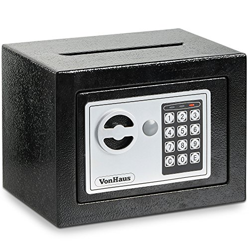 VonHaus Solid Steel Safe Small - 6.3lbs Compact Electronic Digital Home And Personal Security Safe - Keypad Lock, Posting Slot - Includes 4 X AA Batteries, Manual Override Key, Fixing Kit