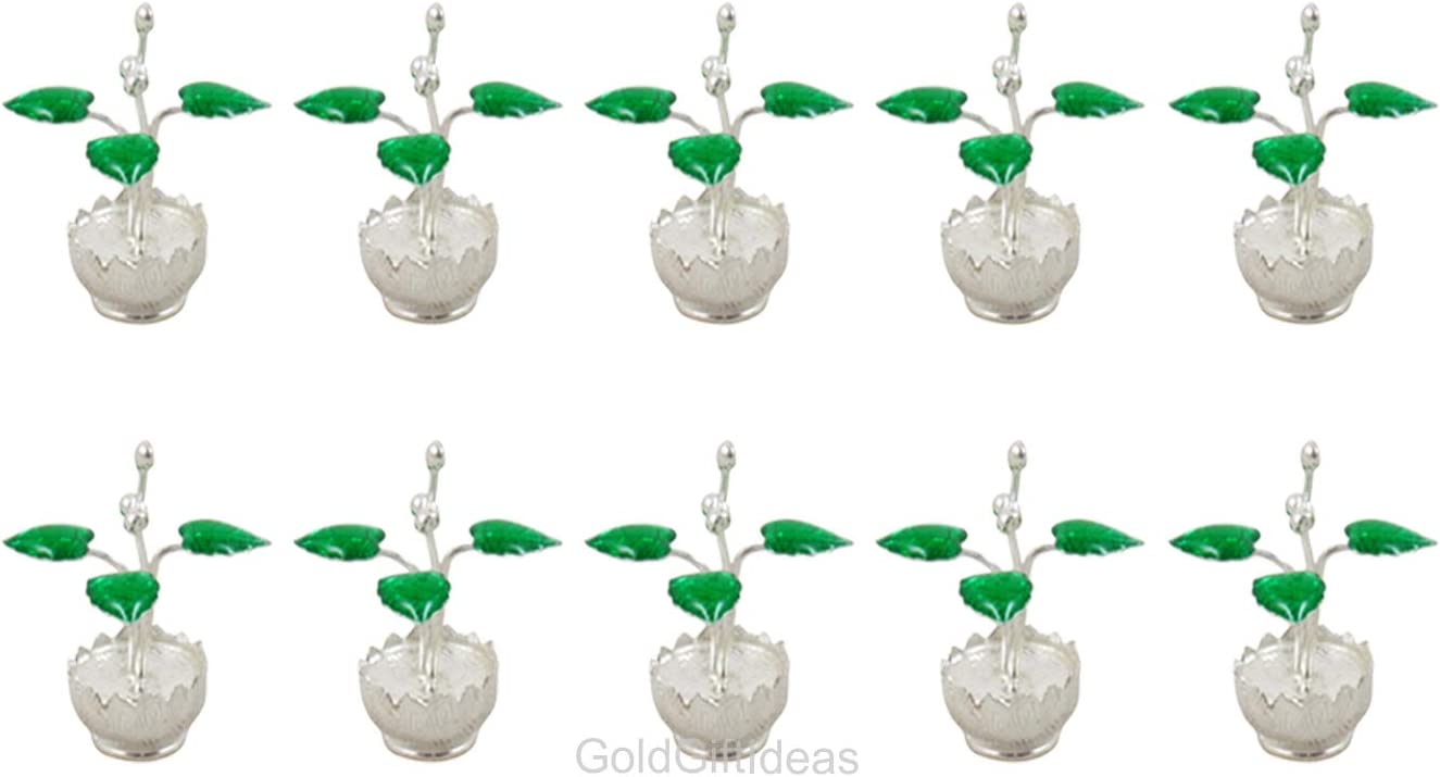 GoldGiftIdeas Pure Silver Pot Shape Tulsi Plant for Home, Indian Return Gifts for Pooja and Baby Shower, Silver Pooja Items for Gifts, Silver Pooja Articles for Temple with Potli Bags (Pack of 10)
