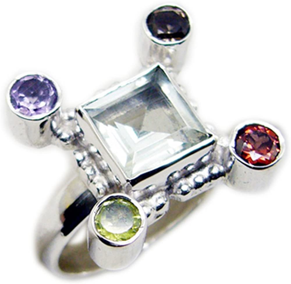 CaratYogi Real Multi Stone Sterling Silver Jewelry For Gift Multi Color Faceted Cut Bezel Style Necklace