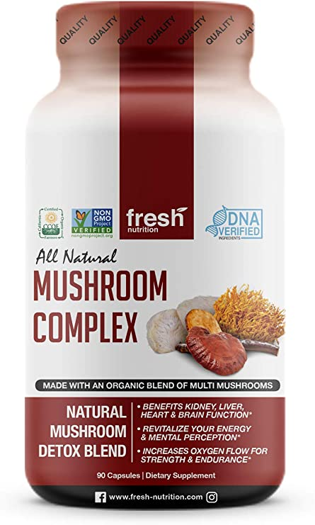 Organic Mushroom Supplement Complex- Strongest DNA Verified - Rich in Alpha Glucan - Special Immune System Support Edition - Nootropic Brain Booster with Cordyceps, Lions Mane & Reishi Mushrooms