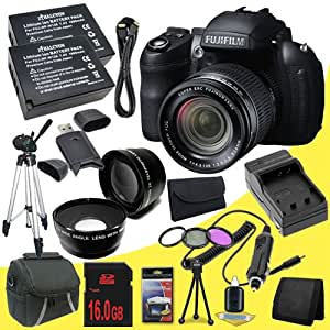Fujifilm FinePix HS35EXR 16 MP Digital Camera (Black) + Two NP-W126 Replacement Lithium Ion Batteries + External Rapid Charger + 16GB SDHC Class 10 Memory Card + SDHC Card USB Reader + 3 Piece Filter Kit + Wide Angle Lens + 2x Telephoto Lens + Carrying Case + Mini HDMI Cable + Full Size Tripod + Memory Card Wallet + Deluxe Starter Kit DavisMax Bundle