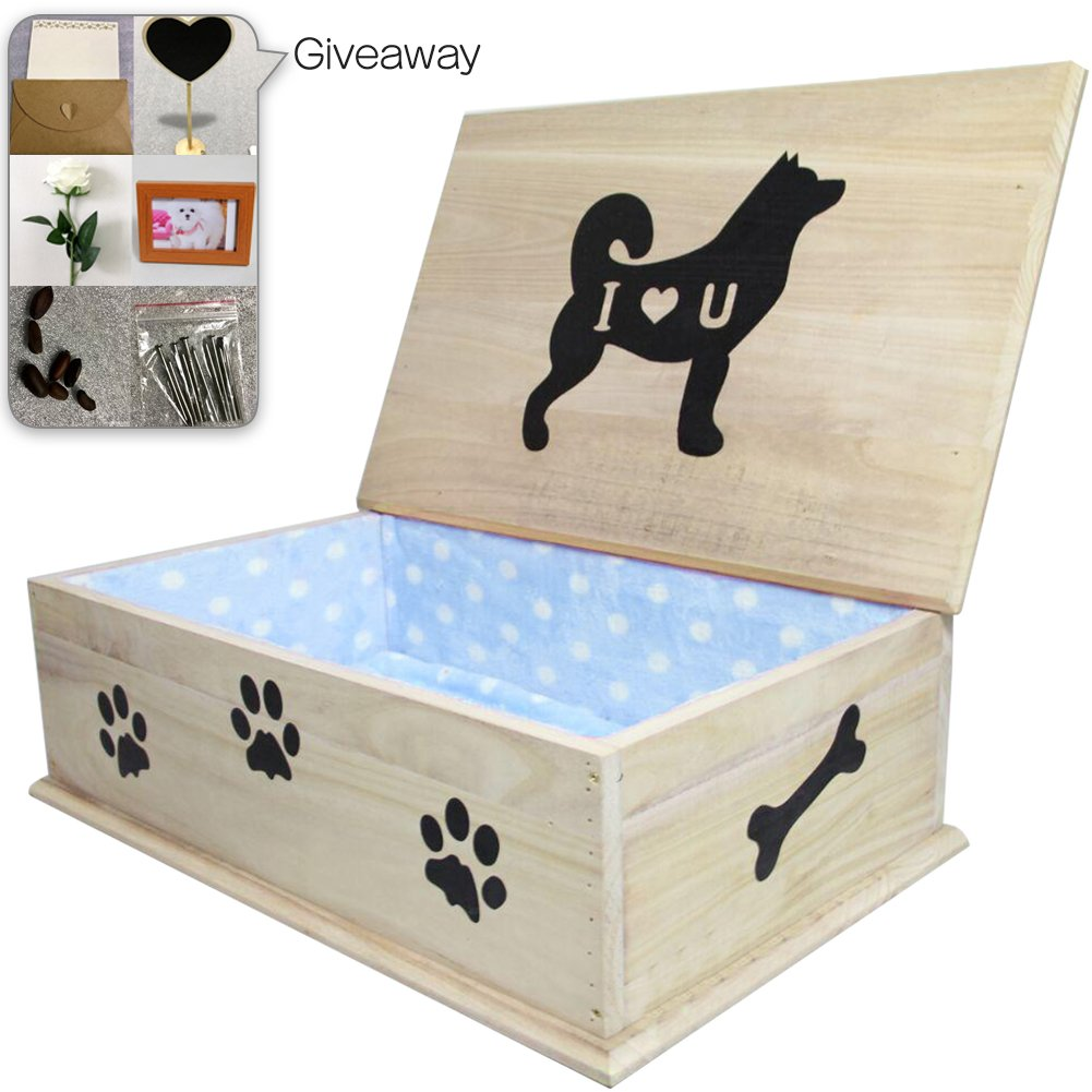 Creation Core Wooden Pet Coffin Casket Dog Funeral and Burial Casket Pet Burial Box for Dogs Cats and Other Animals, Blue 24.4x15.7x8.6