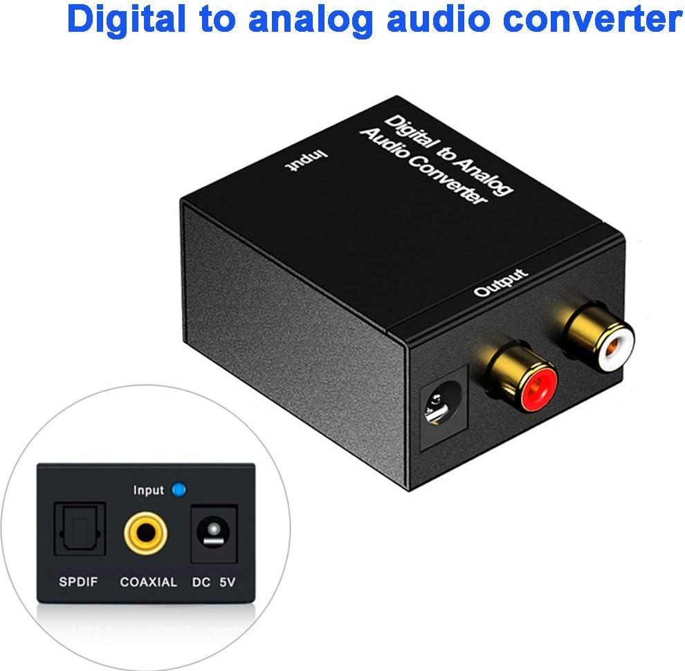 Watchwe 3.5mm Jack Toslink Coaxial de Fibra óptica RCA SPDIF Adaptador de Audio estéreo Decodificador Amplificador Convertidor Digital a analógico: Amazon.es: Electrónica