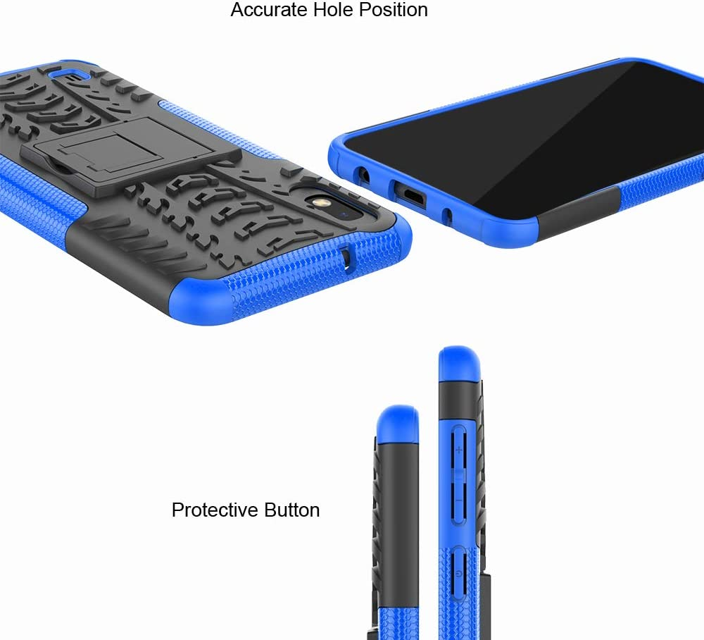 Urspasol for Samsung Galaxy A10 Case Galaxy M10 Case Military Tires Rugged Kickstand Heavy Duty Cover Corner Protection Shockproof TPU Shell Blue