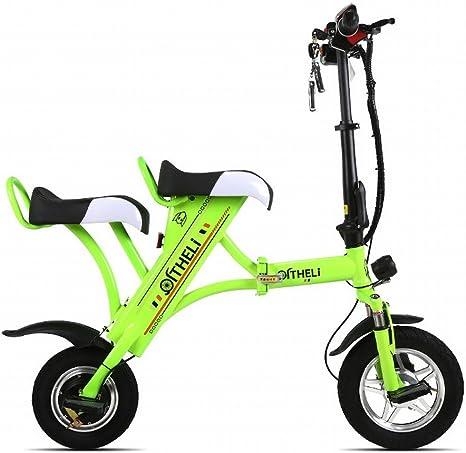 XC Pequeña Bicicleta Eléctrica Plegable Mini Batería Femenina Coche Generación Masculina Eléctrica Placa Doble de Litio para Adultos Patinaje,Verde,Dos asientos: Amazon.es: Deportes y aire libre