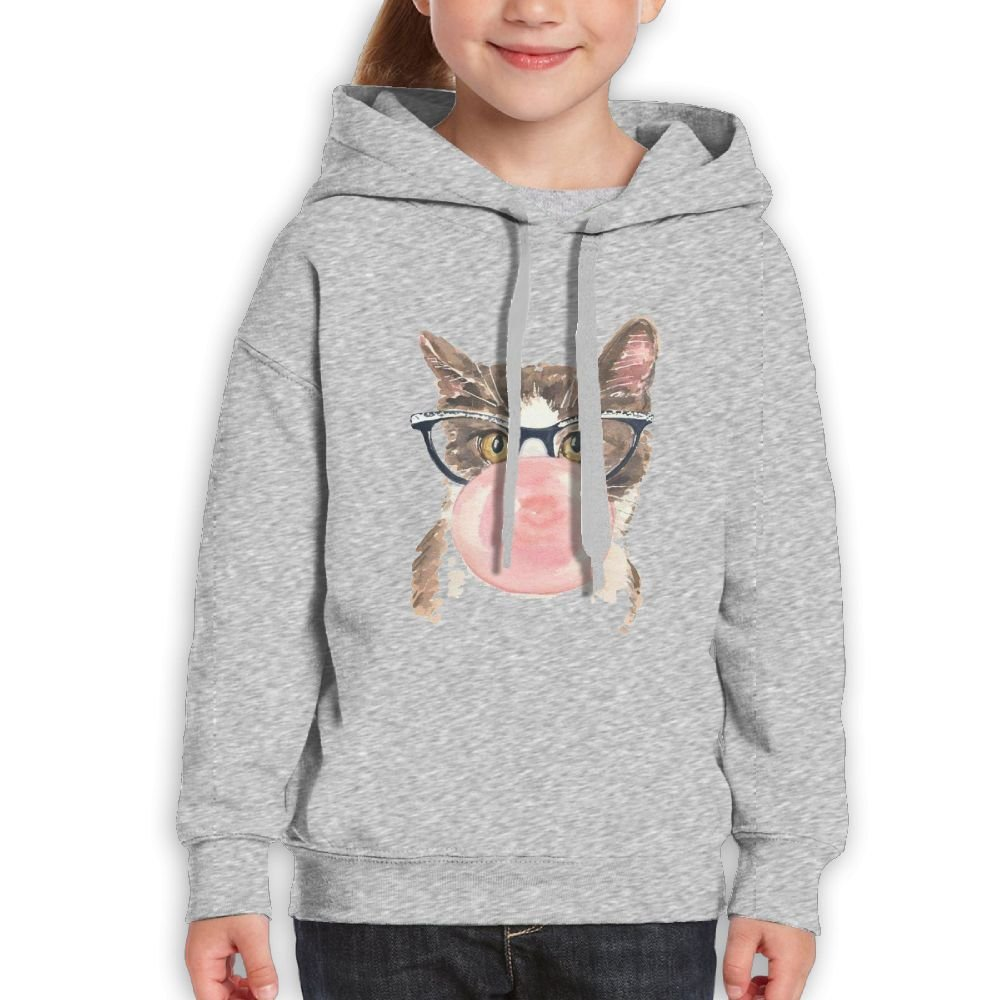 Fashion Girl's Sweatshirts,Warm Cat Glass Cotton Long Sleeve Pullover For Children