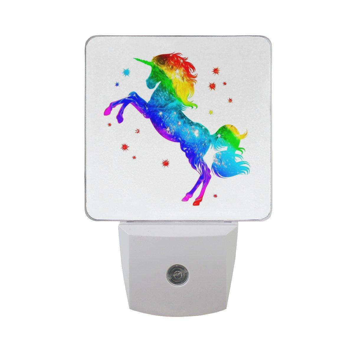 Naanle Set Of 2 Fantasy Colorful Rainbow Unicorn Animals Auto Sensor LED Dusk To Dawn Night Light Plug In Indoor for Adults