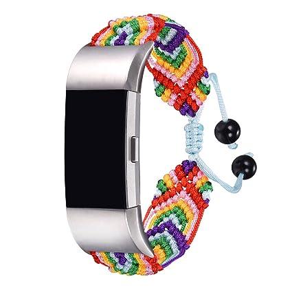 "Bandmax Correa para Fitbit Charge 2, Banda de Nailon Esilo Indio Tejido a Mano Reemplazo Wristband Pulseras de Repuesto[Longitud Ajustable para Muñeca(6.8""-9.2"") 170-235mm]"