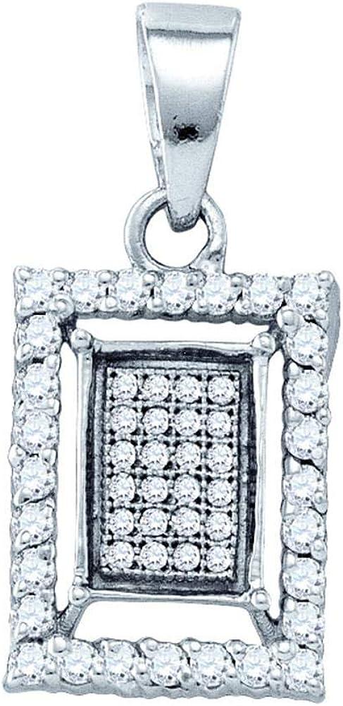 Sterling Silver Diamond Frame Cluster Pendant 3//8 ct