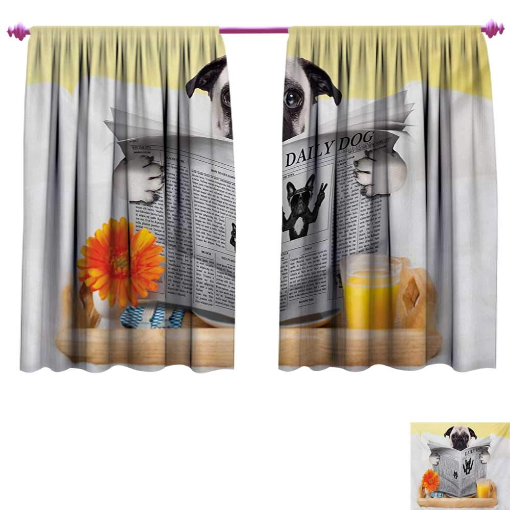 cobeDecor Pug Decor Curtains by Pug Reading Daily Dog Breakfast in Bed Sunday Family Fun Comedic Image Patterned Drape for Glass Door W55 x L63 Pale Brown Yellow Orange