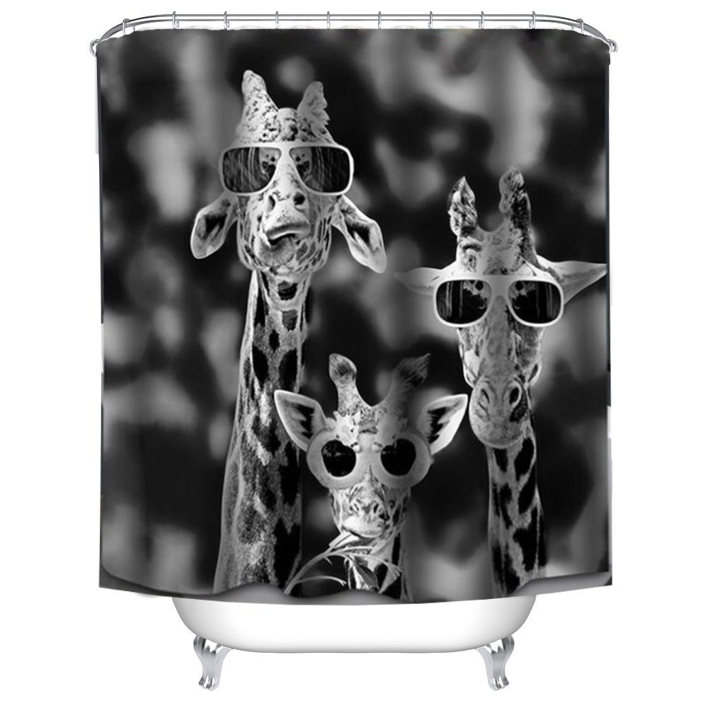 QEES Animal Shower Curtain Wearing Glasses of Black Cat Lovely Pet Art Print Decor Waterproof Anti Mildew Fabric Polyester Bath Curtain Sets with Free Hooks 72 72 YLB02-glass cat