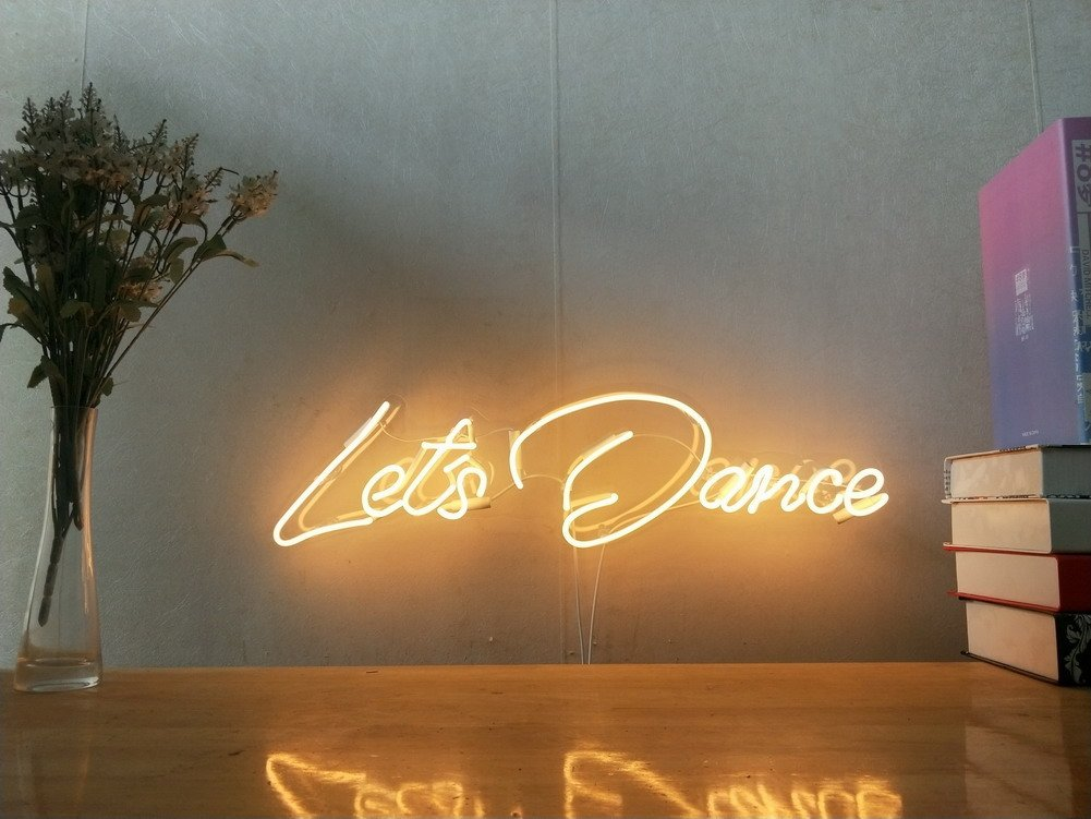 Let's Dance Real Glass Neon Sign For Bedroom Garage Bar Man Cave Room Home Decor Handmade Artwork Visual Art Dimmable Wall Lighting Includes Dimmer
