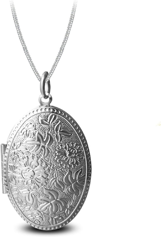 AmDxD Foto Colgante Abrible Patrón de Flor Oval Collar Colgante de Hombres Mujer Oro/Plata