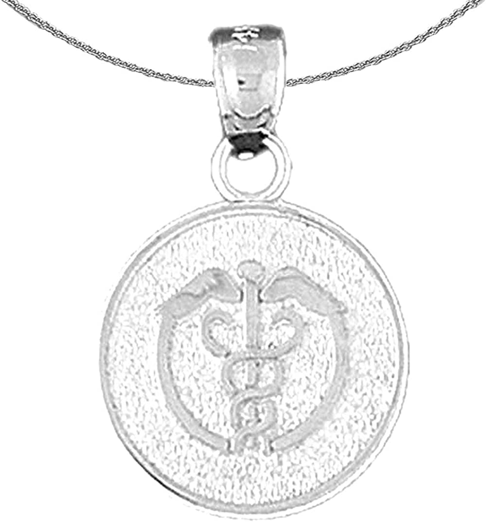 Rhodium-plated 925 Silver Medical Alert Caduceus Pendant with 18 Necklace Jewels Obsession Silver Medical Alert Cadeusus Necklace
