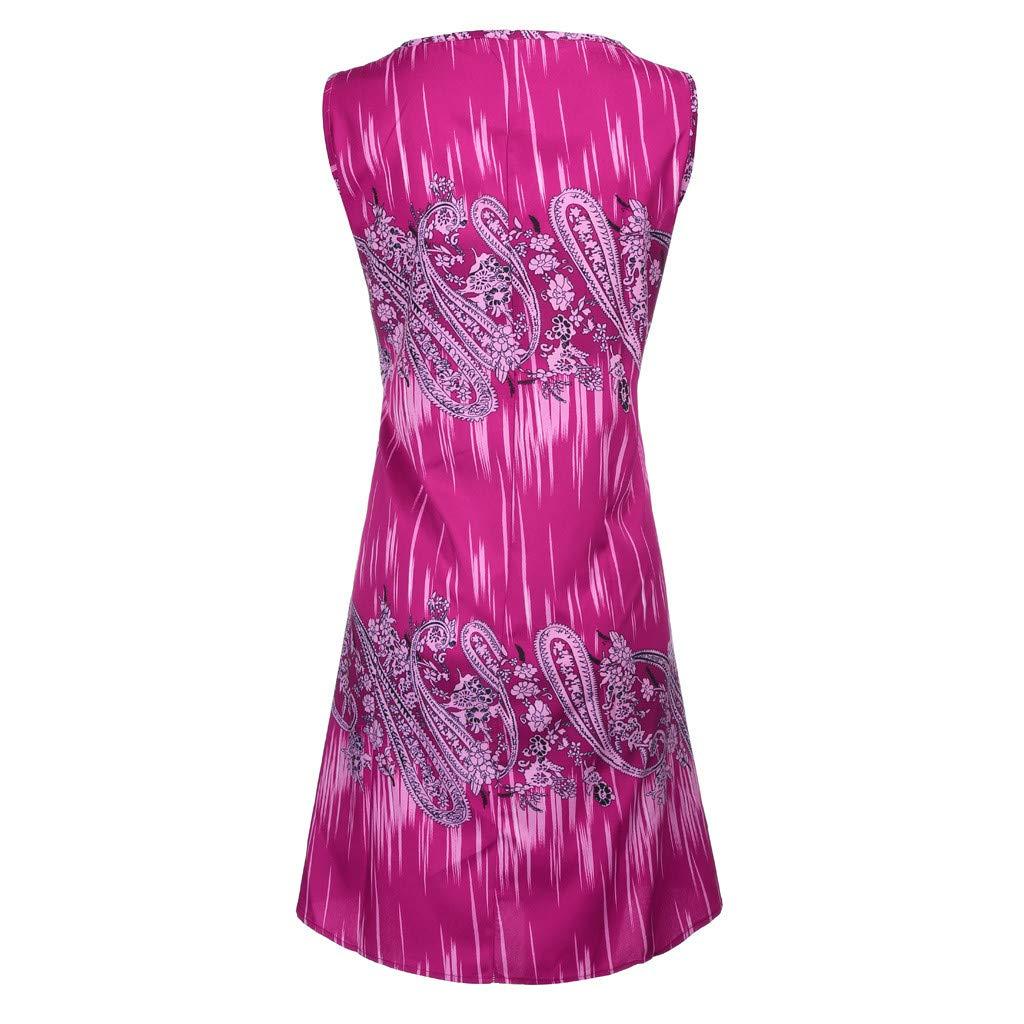 Women Sleeveless Mini Dress Plus Size S-5XL Casual Swing T Shirt Dresses Summer Boho Ethnic Printed Beach Short Sundress Cover-ups Vintage Tank Dress