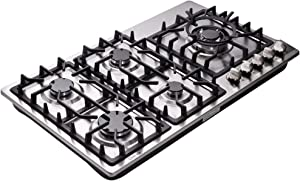 Deli-kit DK258-A08 34 Inch Gas Cooktop Dual Fuel Sealed 5 Burners Stainless Steel Drop-In Gas Hob Gas Cooker