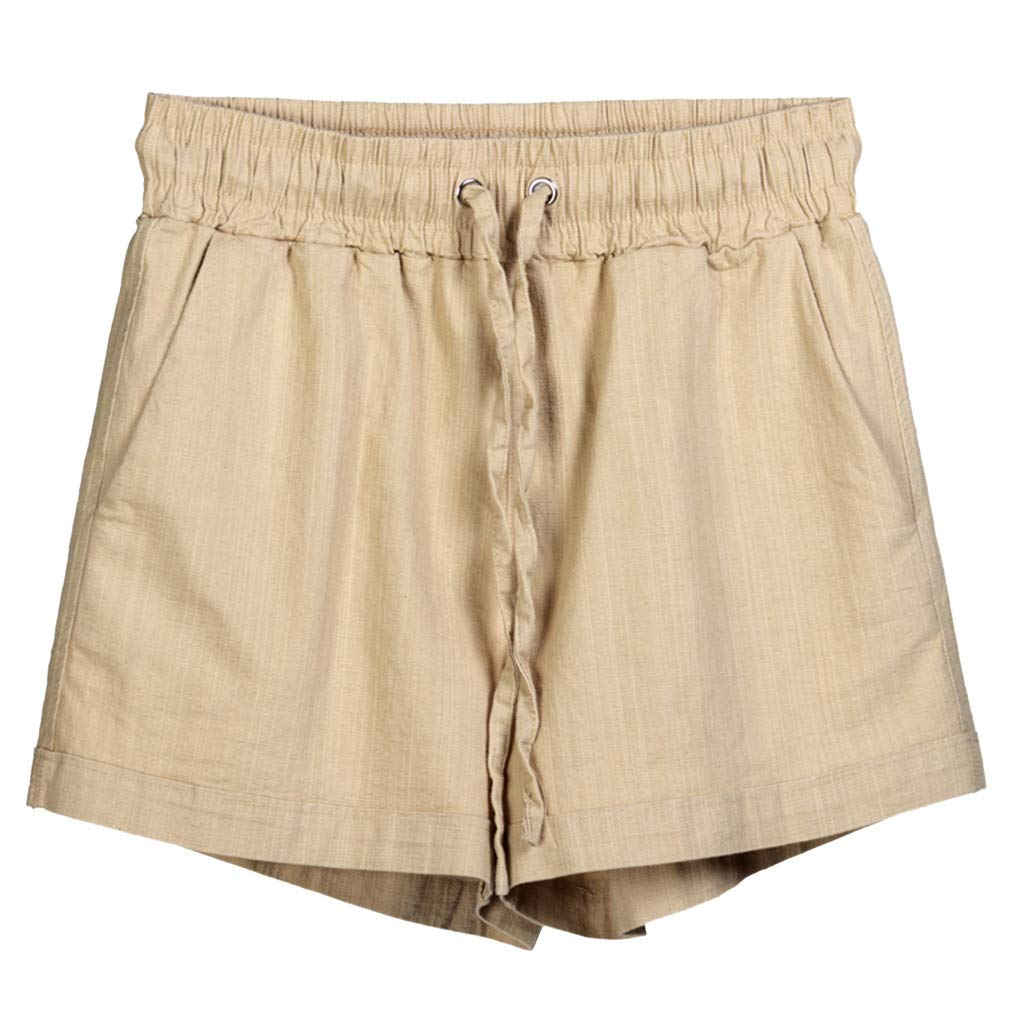 Summer Elastic Shorts for Women - vermers Women's Casual Loose Sports Stretch Drawstring Short Pants(L, Beige)