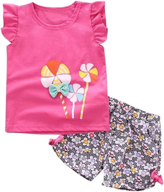 2PCS Toddler Kids Baby Girls Summer T-shirt Tops+Shorts Pants Outfit Clothes Set