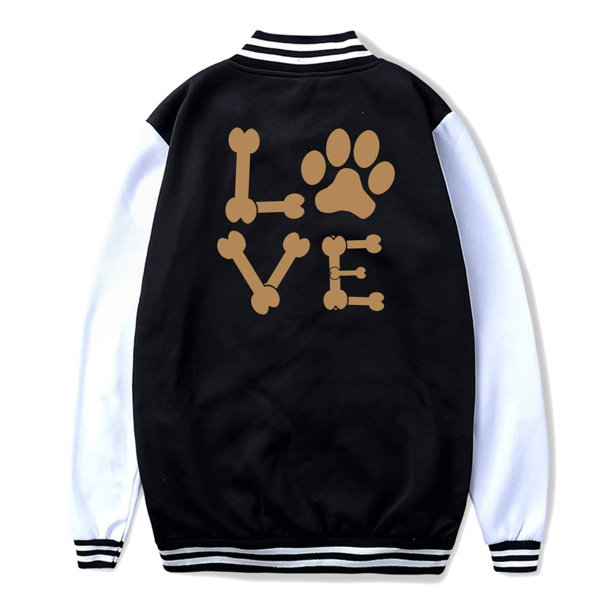 Back Print Unisex Youth Baseball Uniform Jacket Pawprint Dog Bones Animal Lover Sweater Sport Coat